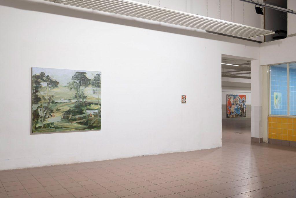SPAZIOMENSA, vista dell'installazione da sx a dx Marco Eusepi, Alessandro Giannì, Alessandro Giannì, Sebastiano Bottaro, Roma