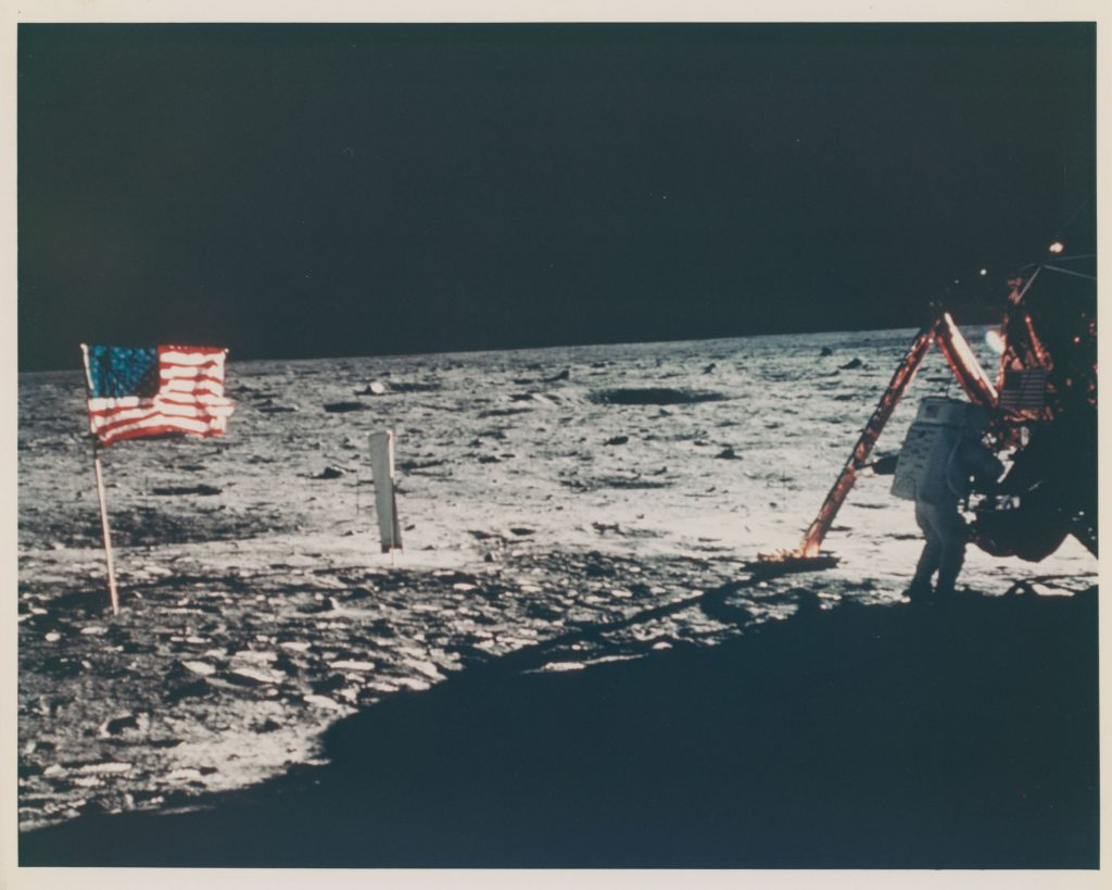 The only photograph of Neil Armstrong on the Moon, July 16-24, 1969. Stima: GBP 30,000 - GBP 50,000. Christie's, Voyage to Another World