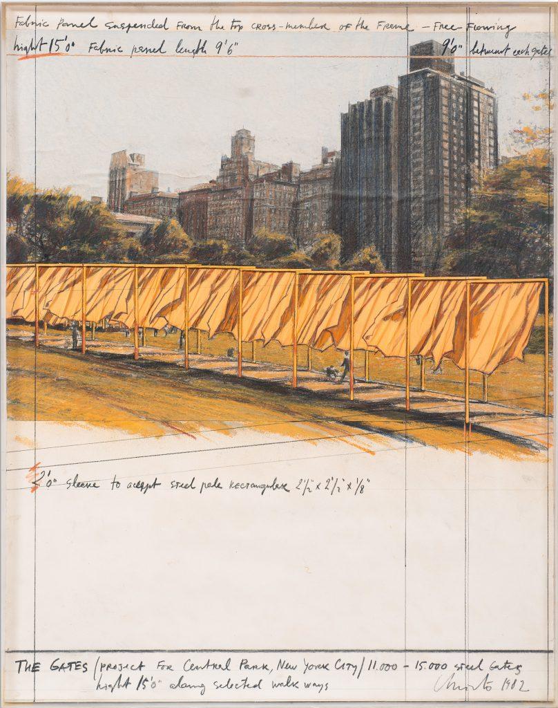 Christo, The Gates, project for Central Park, New York City (1982). Blindarte