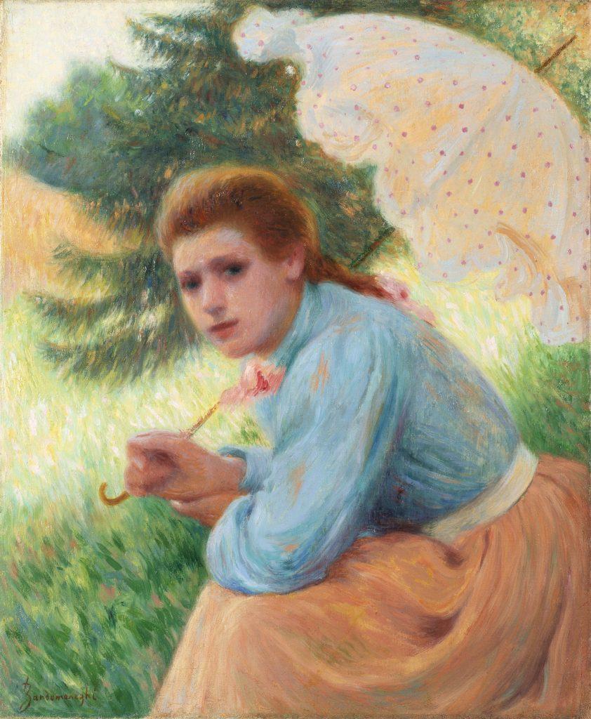 Federico Zandomeneghi, Femme à l'ombrelle (L'ombrellino a pois). Il Ponte Casa d'Aste