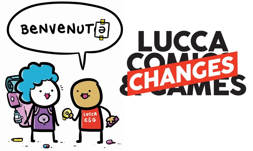 Il poster di Lucca Changes di quest'anno dà il benvenutə a tutti e a tutte, utilizzando la schwa per non imporre discriminazioni di genere nel saluto.
