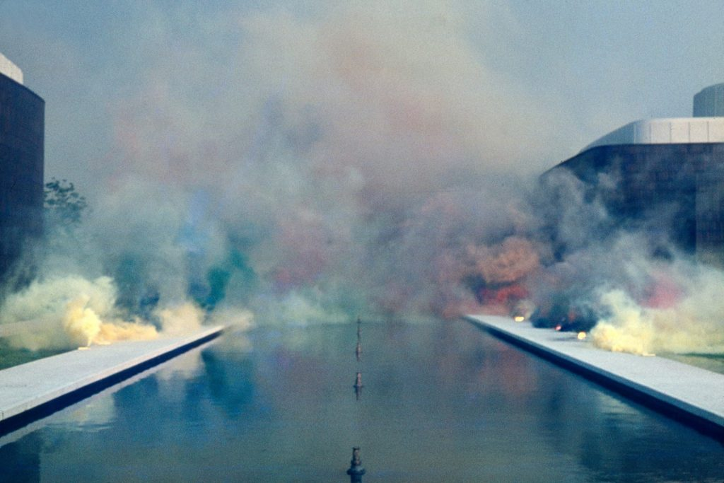 Fireworks performance. Performed at the Pasadena Art Museum (Norton Simon Museum), Pasadena, CA © Judy Chicago/Artists Rights Society (ARS), New York Photo courtesy of Through the Flower Archives Courtesy of the artist; Salon 94, New York; and Jessica Silverman Gallery, San Francisco