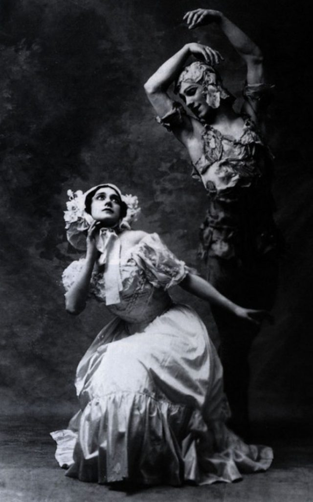 Una foto di Vaslav Nijinsky e Tamara Karsavina nella prima di The Spirit of the Rose (1911). Sotheby's