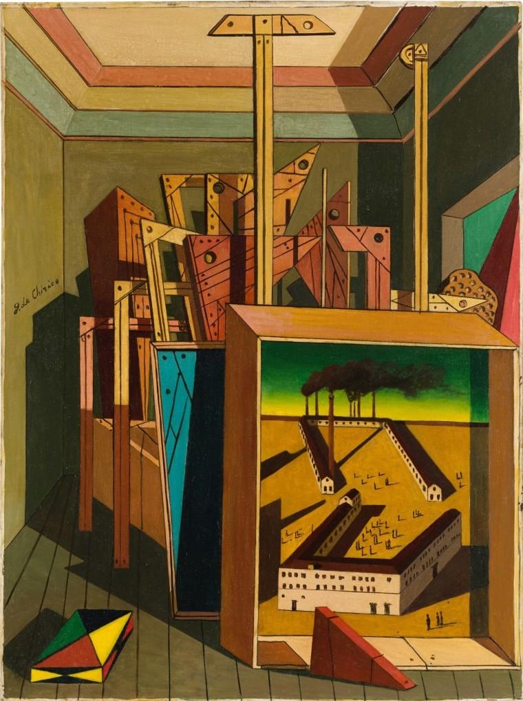 Giorgio de Chirico, Interno metafisico con officina (1951). Contemporary Art Milan, Sotheby's