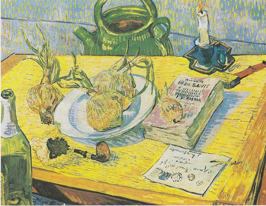 Vincent Van Gogh, Natura morta: tavolo da disegno, pipa, cipolle e ceralacca, gennaio 1889, Museo Kröller-Müller, Otterloo