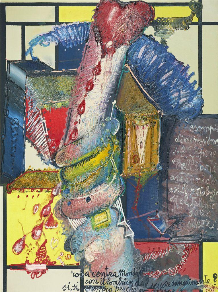 Mattia Moreni, Cosa c'entra Mondrian con il lombrico dal cuore sanguinante? sì, sì, c'entra perchè non c'entra, 1986. Mediartrade