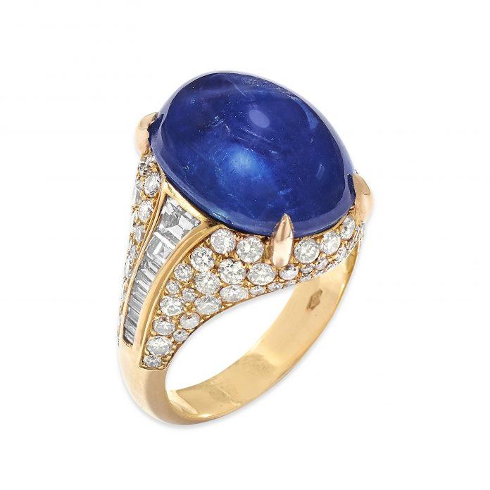 Anello Trombino con zaffiri e diamanti, Bulgari (dai gioielli dell'attrice Franca Valeri Christie's Milano