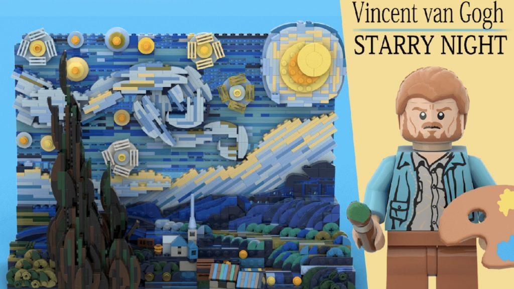 """""""The Starry night"""" (la Notte stellata) di Vincent Van Gogh, LEGO."""
