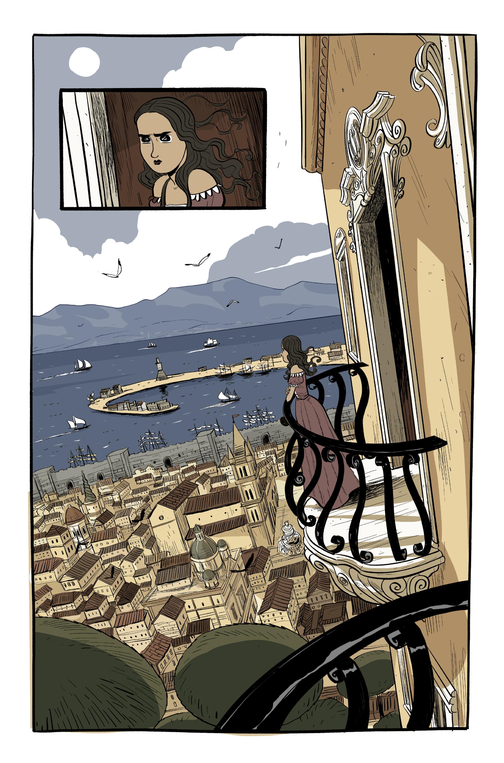 """Tratto da """"Caravaggio e la ragazza"""", testi di Nadia Terranova e disegni di Lelio Bonaccorso, Feltrinelli Comics, 2021. (Courtesy Feltrinelli Comics)"""