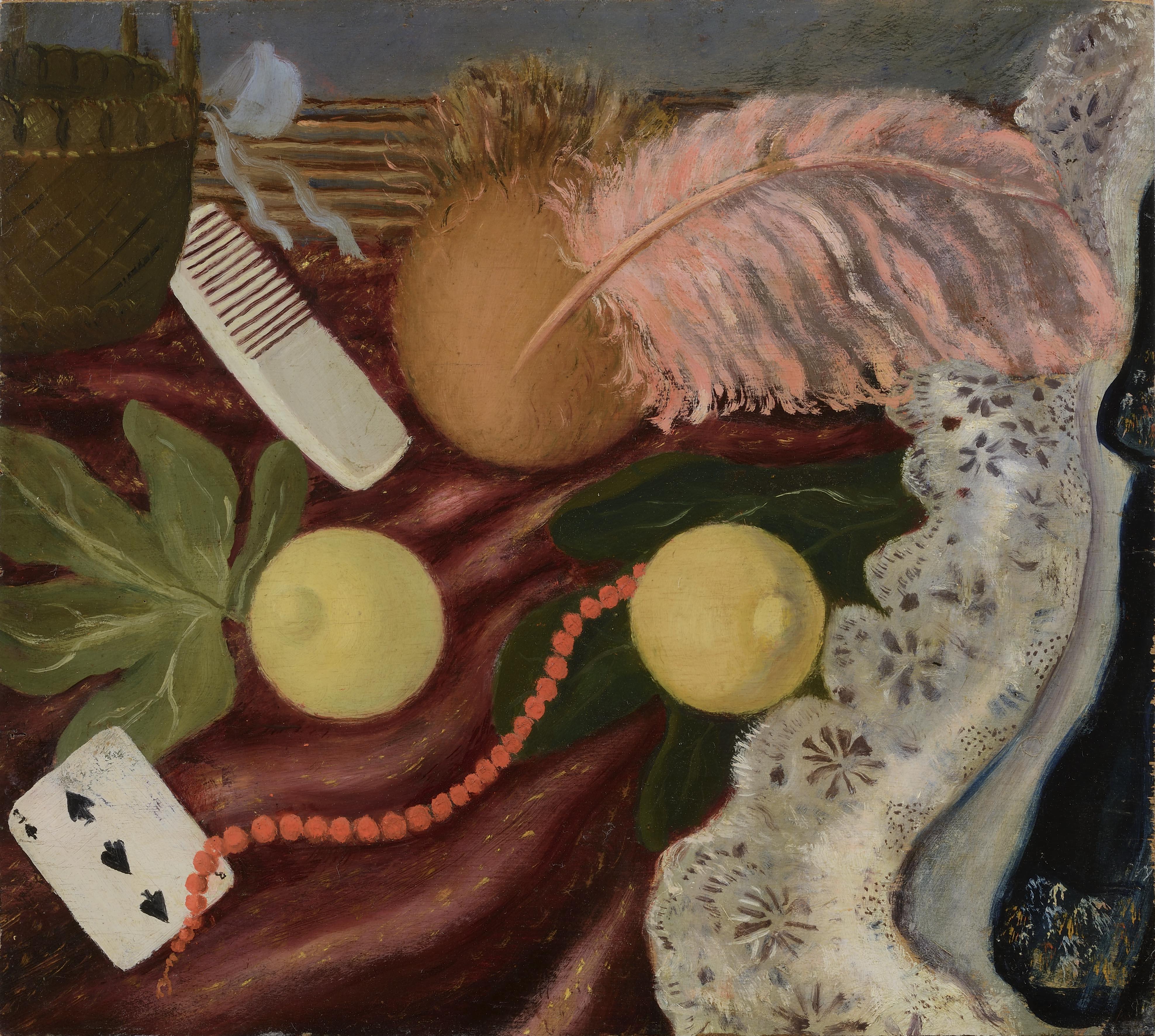 Scipione (Gino Bonichi) Natura morta con piuma, 1929 olio su tavola, cm. 45,5x50,7 Collezione Giuseppe Iannaccone, Milano