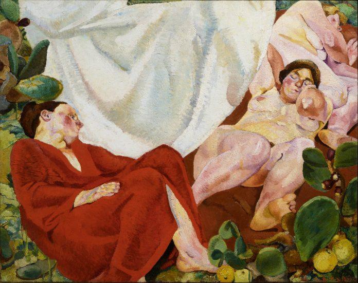Fausto Pirandello, Composizione (Siesta rustica), 1924-1926 - Collezione Giuseppe Iannaccone, Milano. Questa è una delle opere in esposizione nella mostra Viaggio Controcorrente alla GAM di Torino.