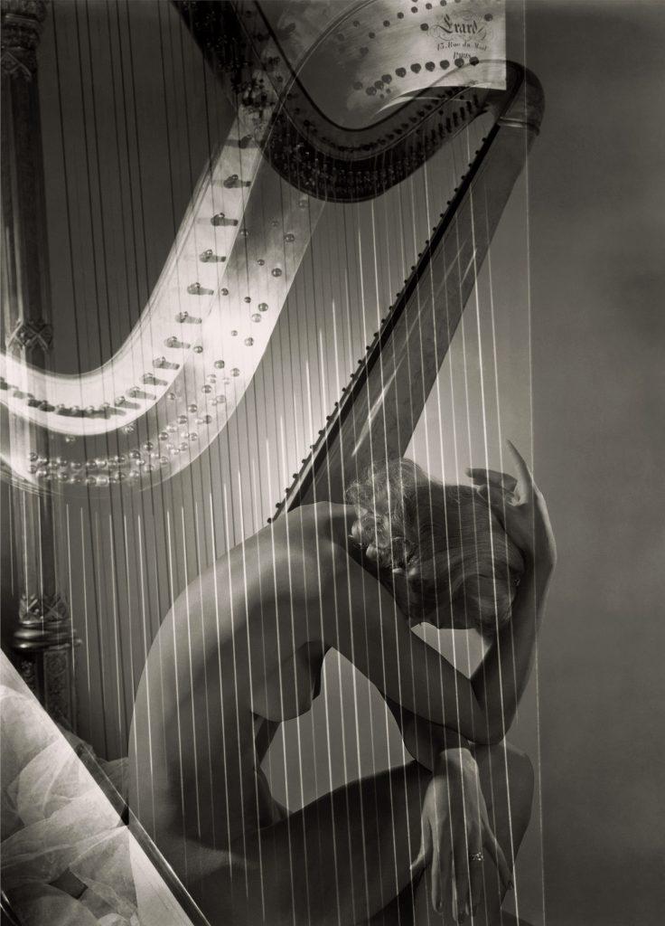 "Horst P. Horst, ""Lisa with harp"", 1939. Courtesy Horst Estate."