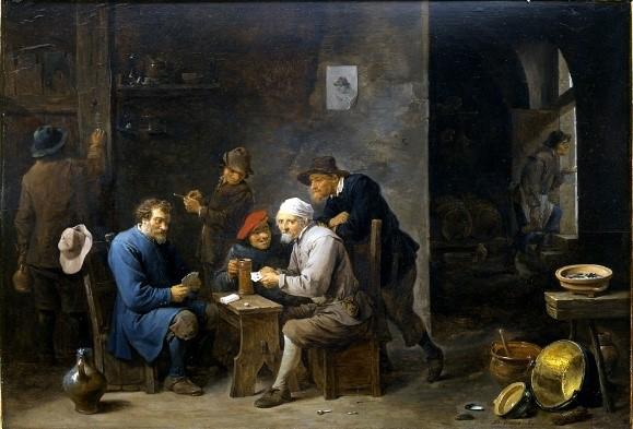 Viaggio Controcorrente alla GAM presenta anche il confronto diretto con alcuni capolavori del passato. Qui per esempio: David Teniers il Giovane, I giocatori di carte, 1650 ca.