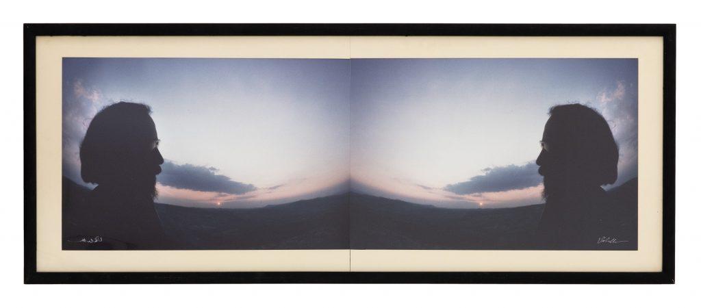 Luca Maria Patella Autofoto al tramonto speculare (altra ora), 1975 autofoto camminante sbadata, stampa Cibachrome 66 x 167,5 cm © Luca Maria Patella, courtesy Fondazione Morra, Napoli