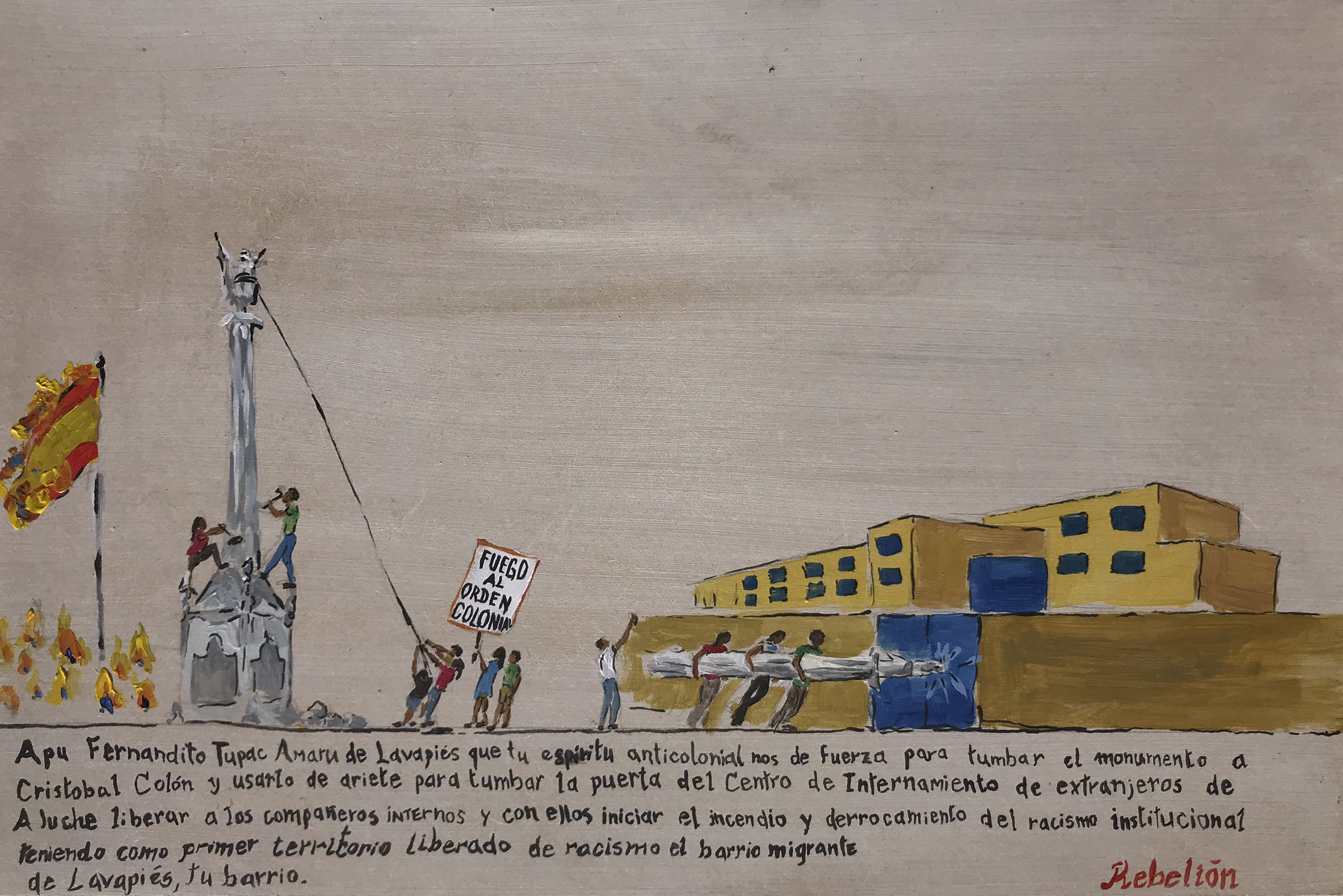 Daniela Ortiz, Anti-colonial prayer to Fernandito Tupac Amaru Bastidas, 2020 (Courtesy l'artista e Galleria Laveronica)
