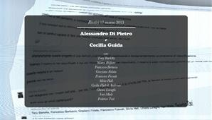 Alessandro Di Pietro 15.50  facciamo il punto della situazione? Cecilia Guida 15.51  ok, ma non sono sicura di conoscerlo. È ancora una mostra?