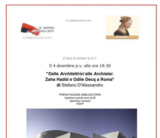 """Parteciperò """"Dalle Architettrici alle Archistar. Zaha Hadid e Odile Decq a Roma"""""""