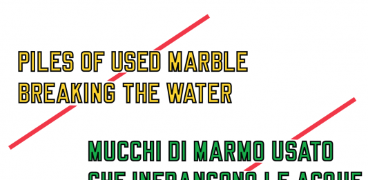 Lawrence Weiner – Piles of used marble breaking the water