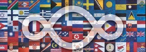 Michelangelo Pistoletto / Angelo Savarese – La Bandiera del Mondo 1+1=3