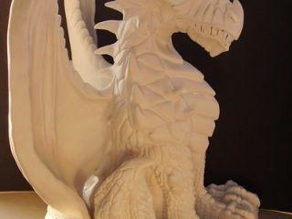 """- CERAMICS SCULPTURE'S -  Scultura di drago in ceramica di Sevres antecedente alla dipintura. Altezza = 50 cm. (vedi """"Silver-Dragon"""")"""