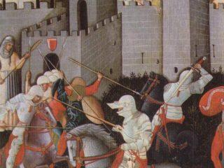 Tavola quattrocentesca con battaglia tra ginesini e fermani sotto le mura di San Ginesio XV secolo