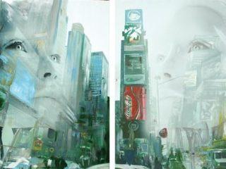 Evoluzione dittico 200x100 cm acrilico e tecnica mista su tela 2010