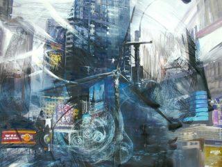 New Life tecnica mista su tela, 110x100 cm anno 2009