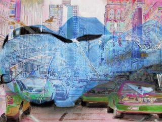 """Smog -tecnica mista su tela, pubblicato su Arte 2007 Rubato durante la mostra """"Profondo Rosa"""", Montecatini terme 2007"""