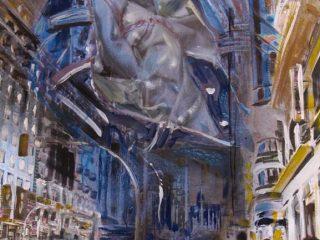 Spada di Damocle tecnica mista su tela 110x80 cm anno 2008