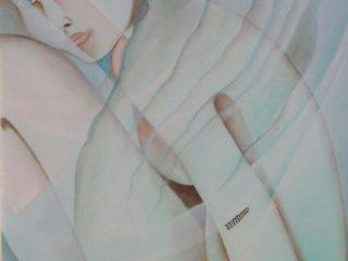 """""""donna con piccolo tatuaggio"""" olio su tela 50x60"""