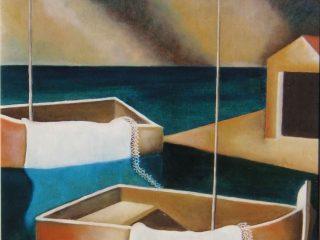 """""""barche su mare immobile"""" olio su tela 50x60 Coseano """"Vie d'artista""""  Prima rassegna di pittura con concorso ed extempore  4 PREMIO  domenica 7- maggio 2000"""