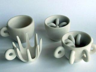 Vista di alcune tazzine realizzate in Prototipazione Rapida - 3D Printing