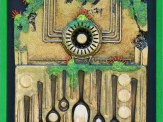 Polimaterico su legno. Cm. 53 x 73