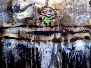"""""""Bullismo"""" Tecn. mista su tela - cm. 60x60, anno 2009"""