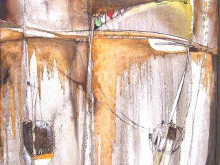 """""""Composizione in ocra"""" olio, vernici su tela - cm. 60x60"""