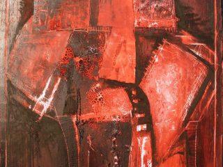 """Titolo: """" Ardore dell'anima Olio,vernice e cera su tela - cm. 100x120"""