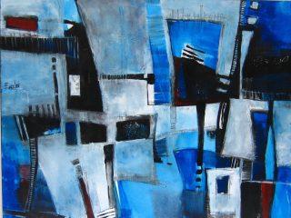 """""""Occhi blu"""" Vernice su tela - cm. 100x120"""