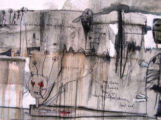 """"""" Il Ghigno """" Tecnica mista su tela - cm. 100x150, anno 2009"""